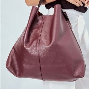 Burgundy Red Slouchy Leather Tote